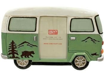 Picture Frame, Camp Van with Bear Scene, Holds a 3.5x5-inch Photo