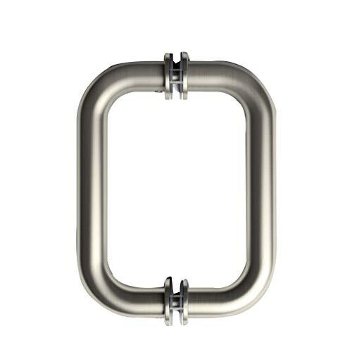 ELEGANT Brushed Nickel Frameless Shower Door Pull Handle, Back to Back Tubular Shower Door Pull Stainless Steel