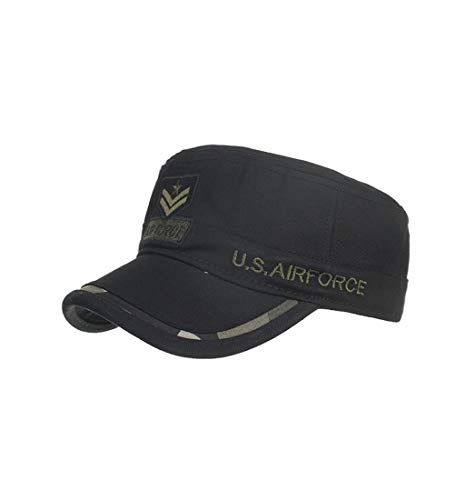 Pausseo Sun Hat, Camouflage Washed Cotton Military Caps Cadet Caps Unique Design Vintage Flat Top Cap
