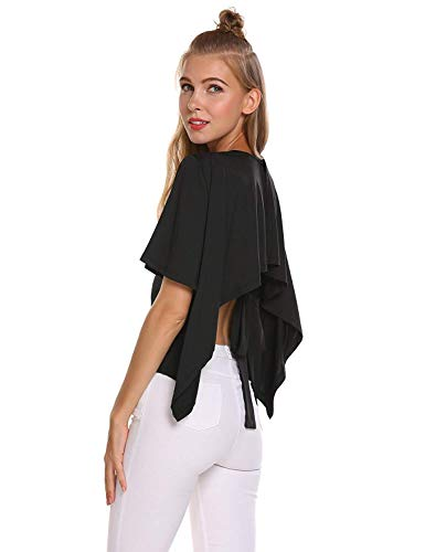 T Button Laisla Courtes lgant Schwarz Confortable Haut Manche Fille Classique Rond fashion Femme Mode Uni Bandage Col Chic Bowknot Tshirt Bouffant Manches Shirts Shirt Et awvU4r1aq