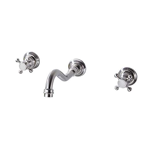 Nickel Wall Mount Lavatory - GGStudy Wall Mount Widespread Bathroom Sink Faucet 3 Holes 2 Knobs Handles Lavatory Brushed Nickel