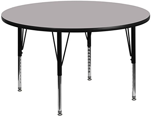 Office Round Activity Table - Flash Furniture 42'' Round Grey Thermal Laminate Activity Table - Height Adjustable Short Legs