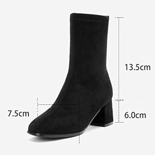 Scarpe con Nero Altezza tacchi donna Taglia Nero 37 donna da Colore da Hwf Leisure Inverno 6cm Walking tacco alti SAZrEwqSx
