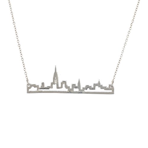 Lux Accessories New York City Skyline Empire State Outline NYC Pendant Necklace.