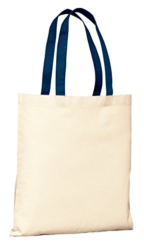 Cotton Budget Tote Bag - Budget Friendly Reusable 100% Cotton Tote Bag with Color Handles | Cotton Canvas Tote Bags in Bulk | Reusable and Eco Friendly Cotton Tote Bags Wholesale by BagzDepot (1, Navy)