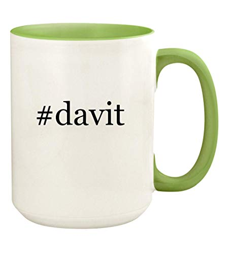 #davit - 15oz Hashtag Ceramic Colored Handle and Inside Coffee Mug Cup, Light Green