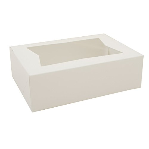 "Southern Champion Tray 24003 Paperboard White Window Bakery Box, 8"" Length x 5-3/4"" Width x 2-1/2"" Height (Case of 200)"