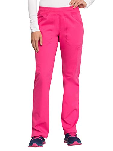 Cherokee WW Professionals WW170 Mid Rise Straight Leg Pull-on Pant Electric Pink M Petite