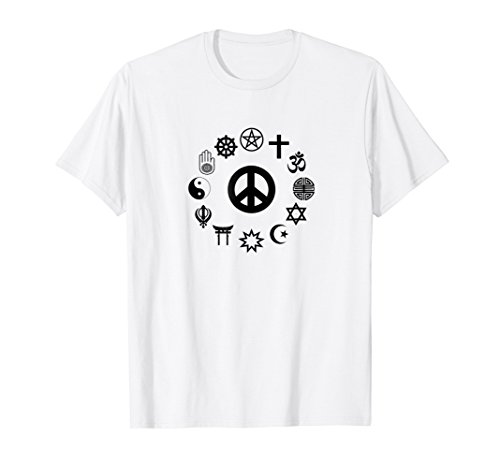Religious Freedom T-Shirt - Peace Sign & Religious Symbols ()