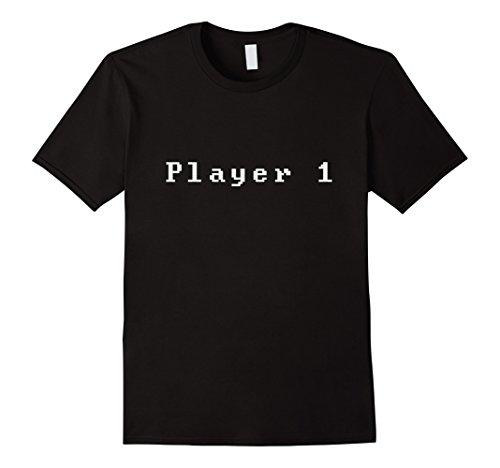 Mens Player 1 Shirt Funny Gamer Video Game T Shirt Tee Console XL Black ()