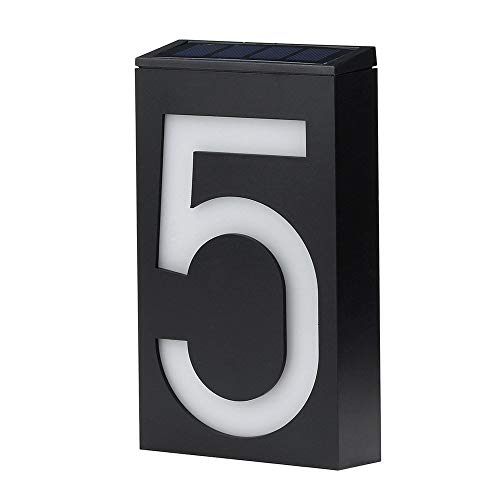 Holders Address Plaque - Kidmekflfr Home Address Sign Solar Power LED Light House Hotel Office Number Sign Address Number Plaque Sign for Mailbox/Door/Apartment/Hotel (F)