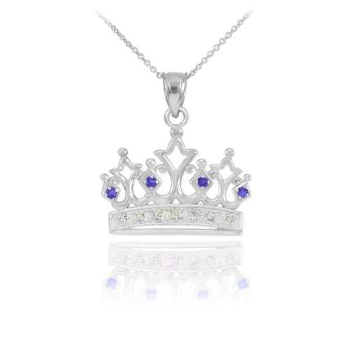 Royal 10k White Gold Blue Sapphire and Diamond Tiara Charm Crown Pendant Necklace, 22
