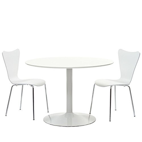 LexMod Revolve Dining Table in White, Arne Jacobsen-Style Series 7 Side Chair Set in White