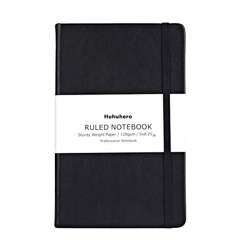 (Huhuhero Notebook Journal, Classic Ruled Hard Cover, Premium Thick Paper with Fine Inner Pocket, Black Faux Leather for Journaling Writing Note Taking Diary and Planner, 5