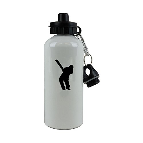 Personalized Custom Cricket Player Aluminum White Finish 20 Ounce 600ML Sport Water Bottle Customizable by CustomGiftsNow