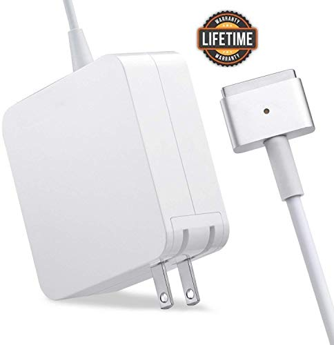 Mac Book Air Charger, Great Replacement 45W Magsafe 2 Magnetic T-Tip Power Adapter Charger for MacBook Air 11-inch and 13-inch (Mid 2012 or Later) ... (White) (Apple Macbook A1465)
