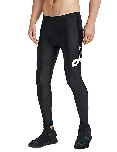 LAFROI Men's UPF 50+ Performance Fit Quick Dry Cool Compression Tights Pants Leggings with Drawstring (WHT Print, ()