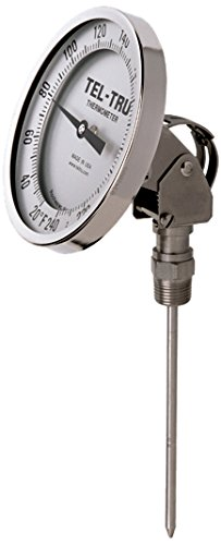 Tel-Tru 42100264 Model Aa575R Resettable Bi-Metal Process Grade Thermometer, Stainless Steel, 5'' Dial, 1/2'' Npt Adjustable Angle Back Connection, 0.250'' Diameter x 2.5'' Long 304Ss Stem, 50/500 Degrees Fahrenheit, +/- 1% Full Span Acc by Tel-Tru