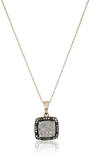 10k Rose Gold White and Natural Brown Diamond Pendant Necklace (1/7 cttw, J-K Color, I2-I3 Clarity), - Brown Necklace Diamond