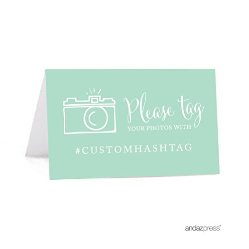 Andaz Press Personalized Hashtag Table Tent Place Cards, Double-Sided, Mint Green, 20-Pack, Custom Hashtag for Social Media Instagram Facebook Photo Tagging
