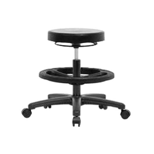 Thomas ECOM PMBSO-RG-NF-RC Polyurethane Medium Bench Height Stool with Black Nylon Base, No Foot Ring, Casters Base Foot Ring Casters