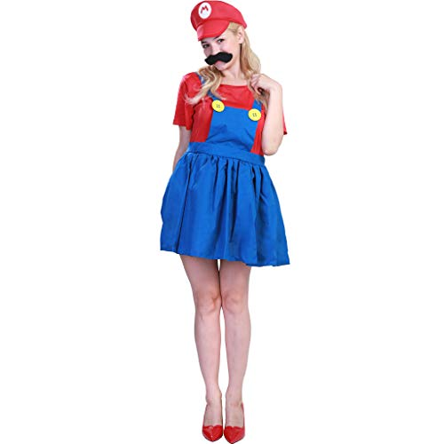 (Women Super Mario Costume Plumber Bros Cosplay Adult Workman Outfit (One)