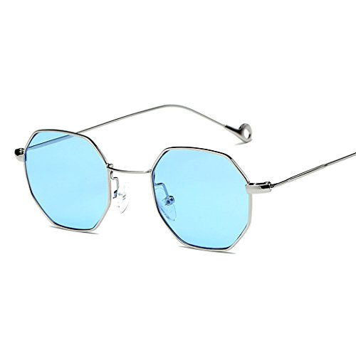 Doober Classic Men Women Hexagon Square Sunglasses Metal Eyewear Fashion Shades Outdoor (Silver&Blue, - Hexagon Frames Eyeglass