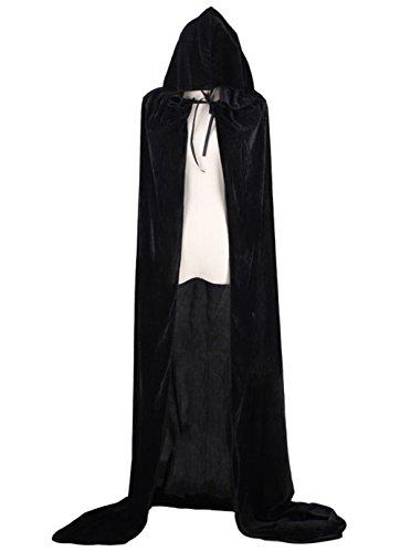 Joygown Hooded Cloak Long Velvet Cape for Christmas Halloween Cosplay Costumes Black (Homemade Adult Halloween Costume)