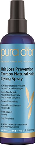 PURA D'OR Natural Hold Styling Hair Spray for Added Volume, Infused with Organic Aloe Vera Biotin & Natural Ingredients, 8 Fl Oz