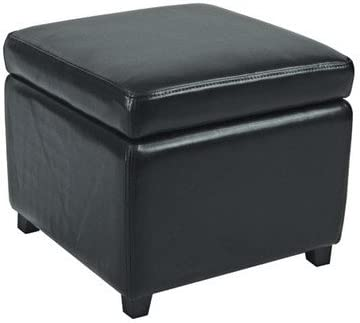 Safavieh Jonathan Bicast Leather Cube Ottoman Color: Black