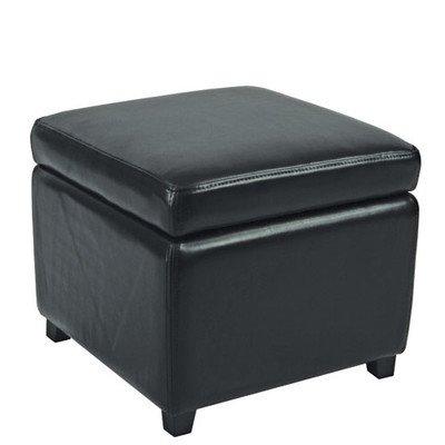 Jonathan Bicast Leather Cube Ottoman Color: Black For Sale