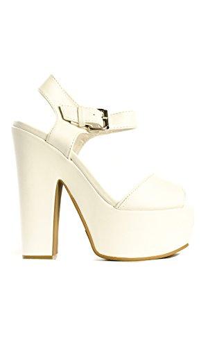 Ikrush Womens Lyra Peep Toe Platform Heels White W4GXPVpqIR