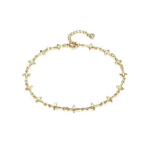 Dremmy Cute Tiny Gold Cross Anklet,Little Cross Ankle Bracelets,Dainty Handmade Airplane Foot Anklets for Women