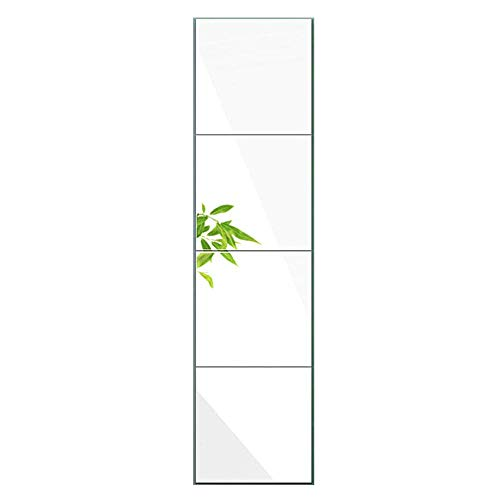 Huimei2Y Full Length Mirror Tiles, 4 Pieces Frameless Wall Mirror for Vanity Bedroom, 12 Inch Square (Square 12 Mirror)