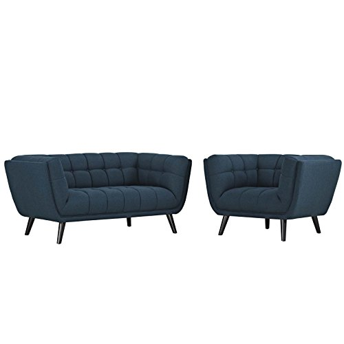 Modway EEI-2972-BLU-SET Bestow Tufted Mid-Century Modern Upholstered Fabric Loveseat and Armchair Blue ()