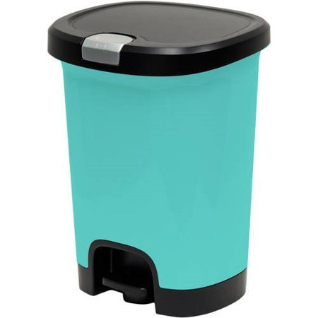 Hefty 7-Gal Textured Step-On Trash Can with Lid Lock and Bottom Cap, Pool Blue