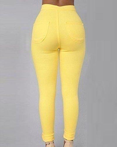 Skinny Crayon Collants Stretch Pantalon Jaune Haute Leggings Denim Jeans Taille Pantalons Femmes wZqTYt