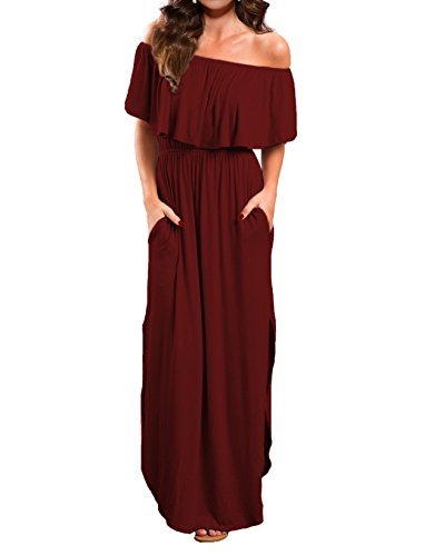 VERABENDI Women's Off Shoulder Summer Casual Long Ruffle Beach Maxi Dress with Pockets (X-Small, Burgundy)