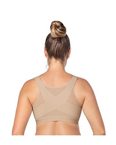 Leonisa Back Support Posture Corrector Wireless Bra Adjustable Front Closure Beige