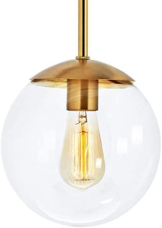MOTINI Globe Pendant Light, 1-Light Pendant Lighting with Clear Glass Shade, Mini Pendant Lighting in Gold Brushed Brass Finish, Adjustable Hanging Light Fixture for Kitchen Island, Dining Room