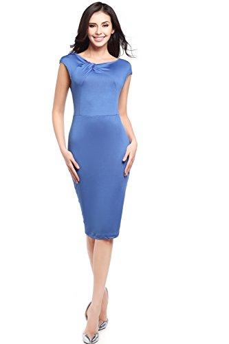 Twist Torsad Fendue Courtes Dress Bleu Manches Devant Ajuste szivyshi Robe Torsades Bodycon Moulante Longue Mi Fourreau Midi Dos IxqR5w