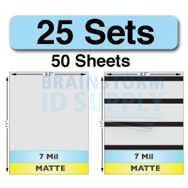 7 Mil Matte Full Sheet Laminate Sets - 25 Sets (50 Sheets - 25 Plain, 25 with HiCo Magnetic Stripes)
