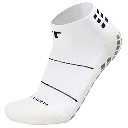 (TRUSOX Ankle Length Thin Small No Slip Socks For Running, Tennis, Basketball, Lacrosse, Football, Baseball, Soccer, Volleyball Or Rugby, 1 Pair, White, Shoes Size Men 3-6.5, Women 4-7.5)