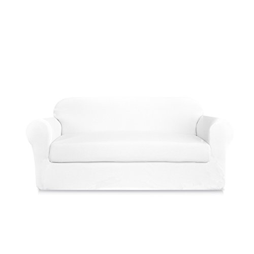 DyFun 2-Piece Knit Spandex Stretch Dining Room Sofa Slipcovers (White, - White Sofa Couch