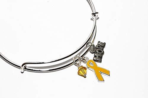 (Yellow Ribbon Awareness Charm Bracelet. Sarcoma Bone Cancer, Soldier Support, Spina Bifida, Missing Children, Bladder Cancer Bangle Bracelet. #02)
