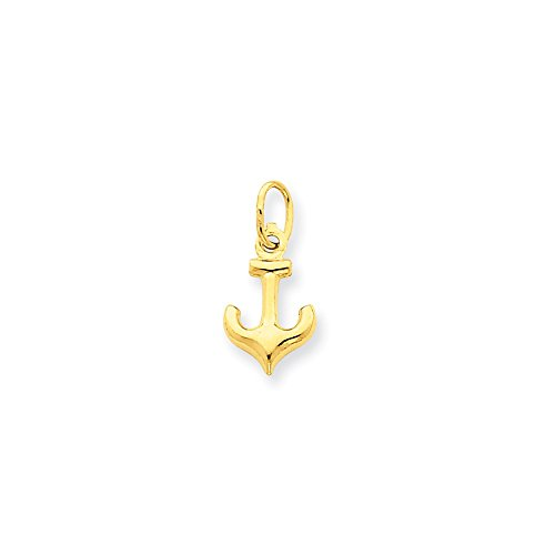 14k Gold Anchor Charm Pendant (0.63 in x 0.31 in)