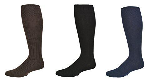 Sierra Socks Men's 3 Pair Pack Classic Dress Over the Calf Cotton Socks M3300 (Sock Size 10-13, Shoe Size 10-13, Assorted (Navy/Black/Brown)) (Classic Dress Rib Sock)