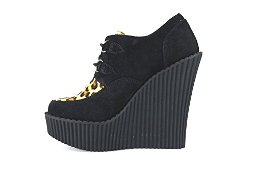 TUK - Zapatos de vestir de ante para mujer negro Nero/Beige