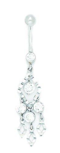 14k White Gold CZ 14 Gauge Dangling Fancy Drop Body Jewelry Belly Ring - Measures 50x11mm
