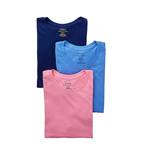 Polo Ralph Lauren Classic Fit Cotton Crew Neck T-Shirts - 3 Pack (RCCNS3) M/Harbor Blue/Pink/Royal